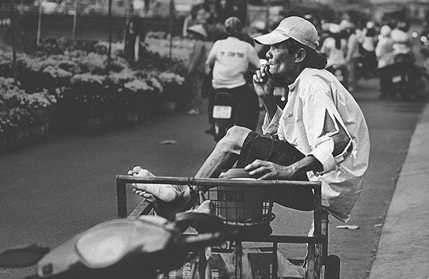 Vietnam - Tet-Fest - Mann auf Fahrrad