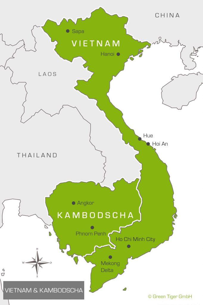 Karte Vietnam Kambodscha