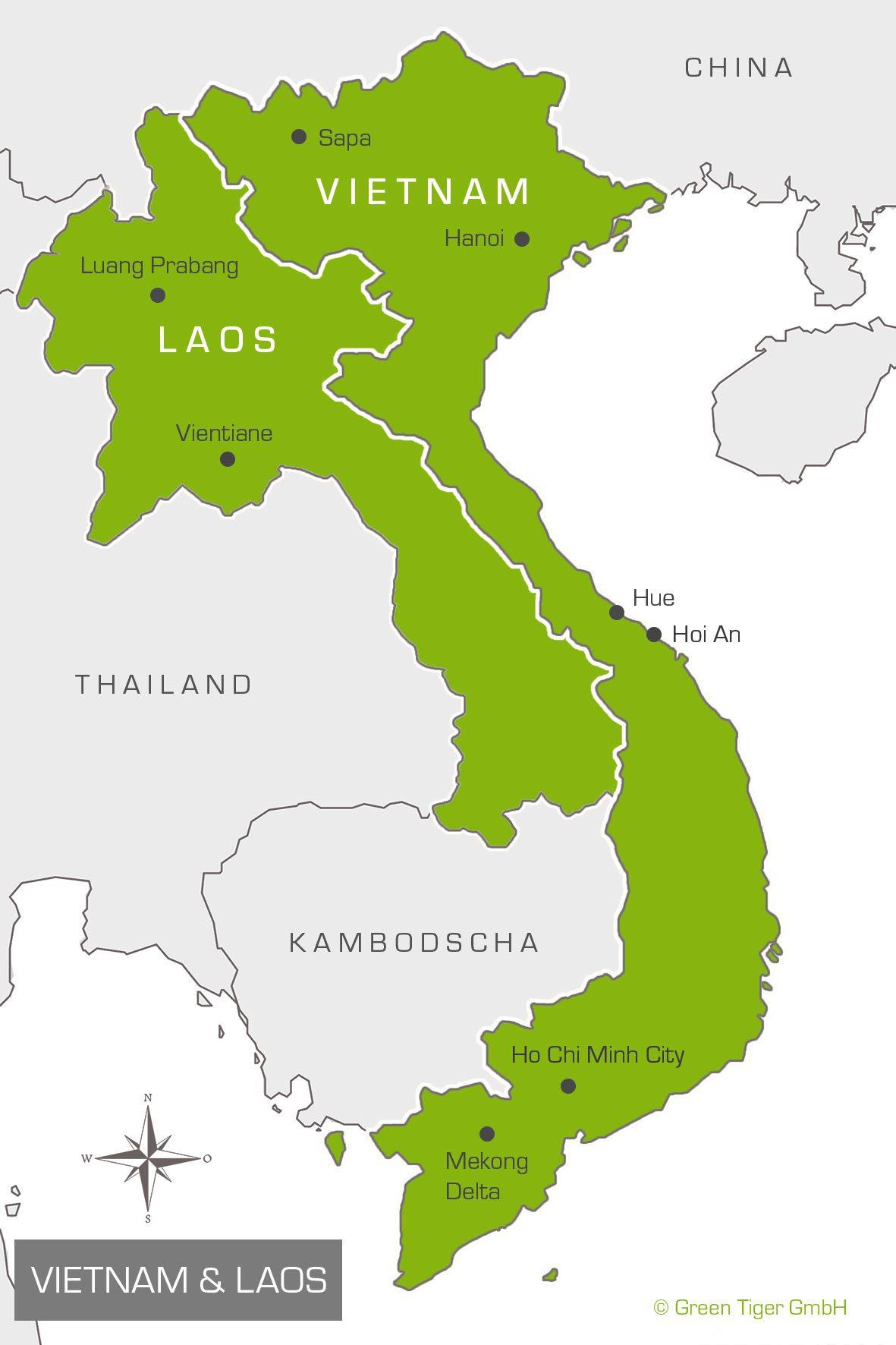 Karte Vietnam Laos