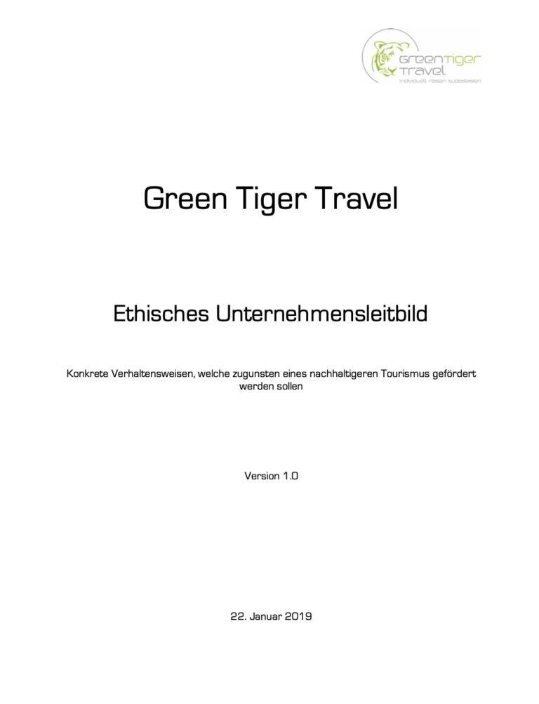Green Tiger Travel Nachhaltiger Tourismus Leitbild