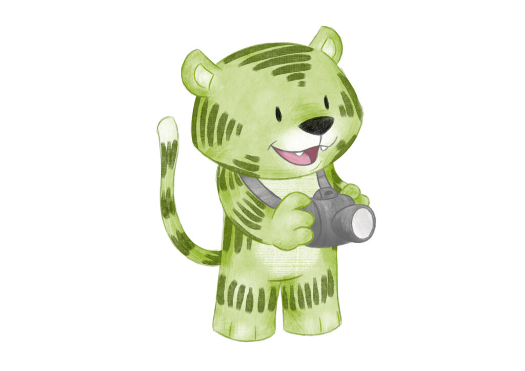 Kleiner Grüner Tiger mit Kamera