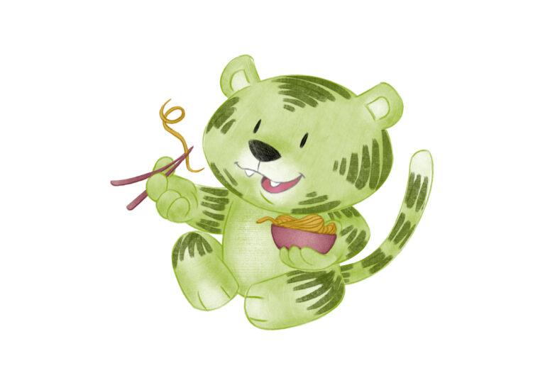 Kleiner Grüner Tiger isst mit Stäbchen