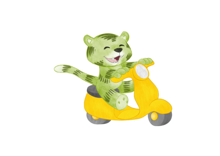 Kleiner grüner Tiger auf Moped